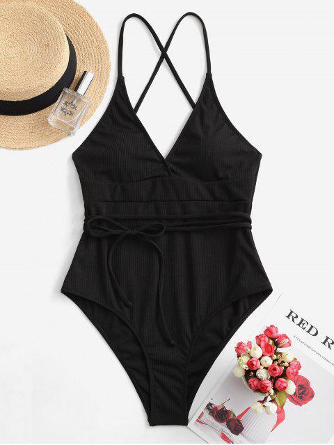 shops ZAFUL Ribbed Wraparound One-piece Swimsuit - BLACK S Mobile