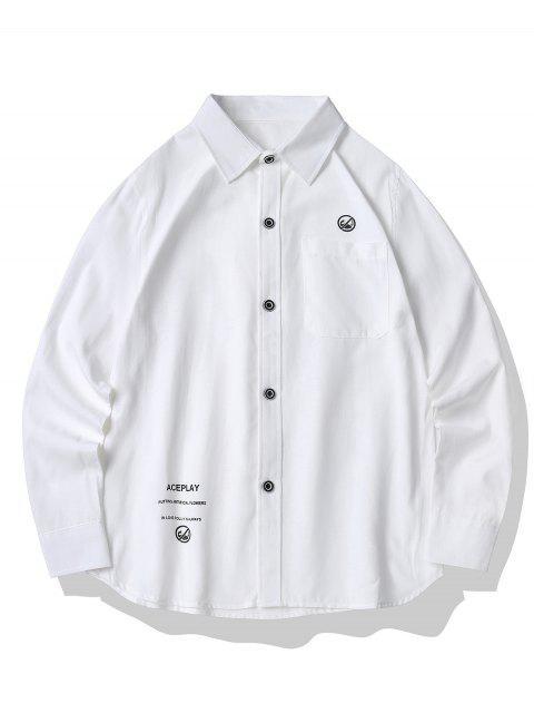 Camisa Estampado Gráfico Abotonado Bolsillo Frontal - Blanco XL Mobile