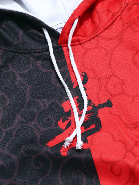 outfits Two Tone Oriental Letter Print Drawstring Hoodie - CHERRY RED 3XL Mobile