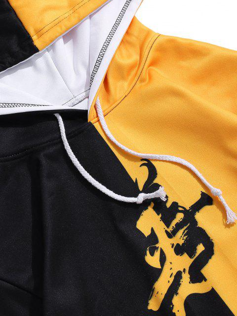 womens Two Tone Oriental Letter Print Drawstring Hoodie - BEE YELLOW 3XL Mobile