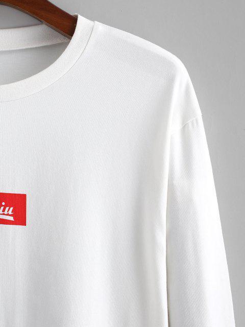 Camiseta de Manga Larga con Estampado Chino - Blanco S Mobile
