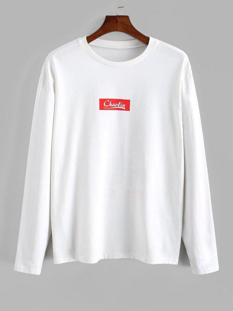 Camiseta de Manga Larga con Estampado Chino - Blanco XL Mobile