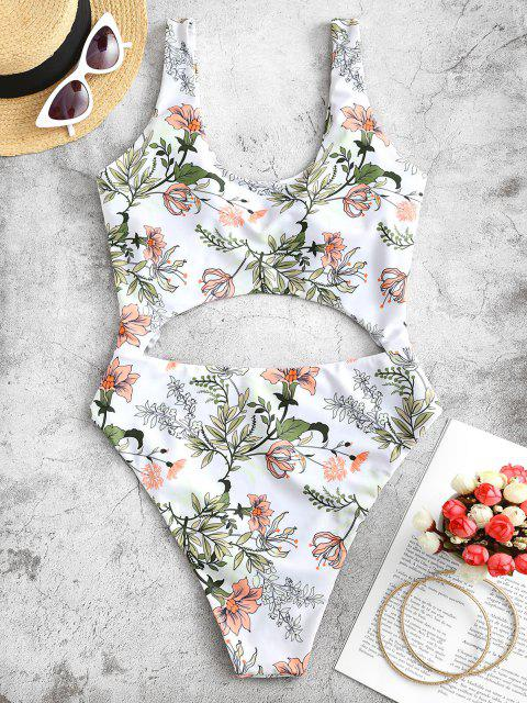 women ZAFUL Plant Print Frilled Cutout One-piece Swimsuit - WHITE S Mobile