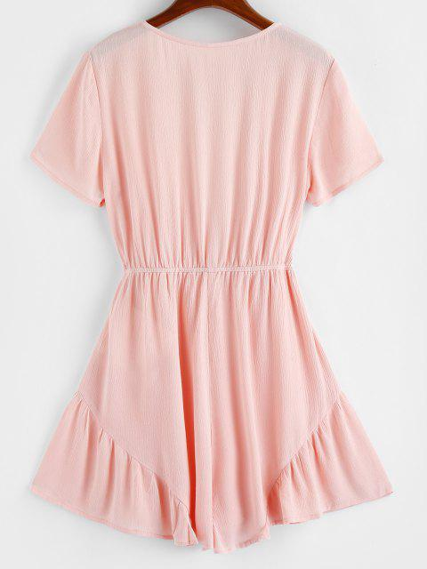 ladies ZAFUL Ruffle Plunging Wide Leg Romper - LIGHT PINK S Mobile