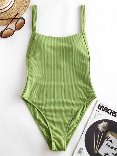 fancy ZAFUL Ribbed Drop Armhole High Cut One-piece Swimsuit - LIGHT GREEN S Mobile