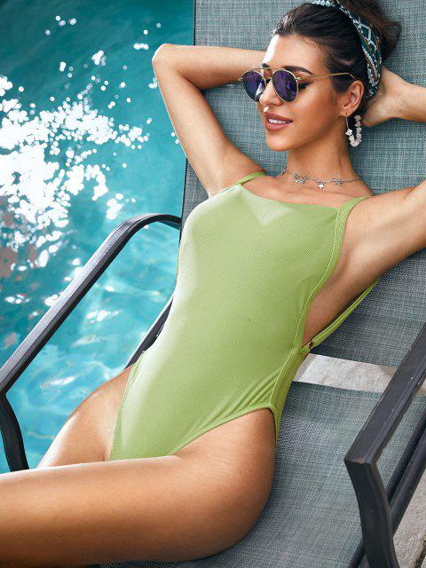 unique ZAFUL Ribbed Drop Armhole High Cut One-piece Swimsuit - LIGHT GREEN M Mobile