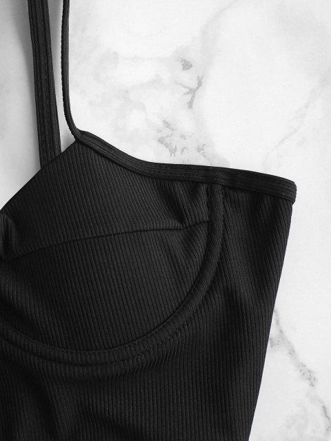 ZAFUL Gerippte Bügel Tankini Badebekleidung mit Hohem Ausschnitt - Schwarz S Mobile