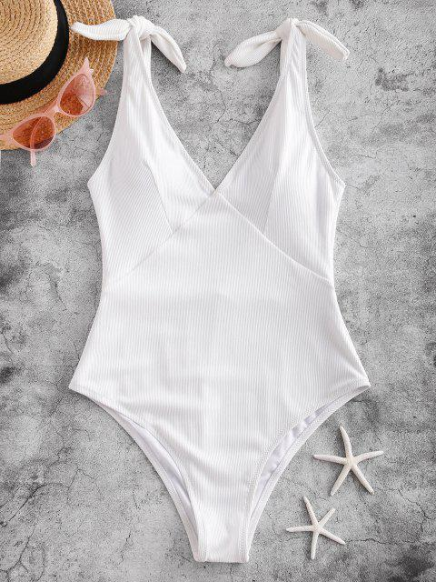 hot ZAFUL Ribbed Knot One-piece Swimsuit - WHITE XL Mobile