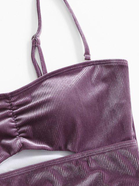 ZAFUL Hochgeschnittener Samt Tankini Badebekleidung mit Rippen - Viola Lila S Mobile