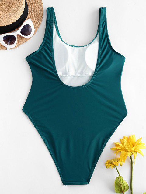 shop High Cut Backless Swimsuit - PEACOCK BLUE M Mobile