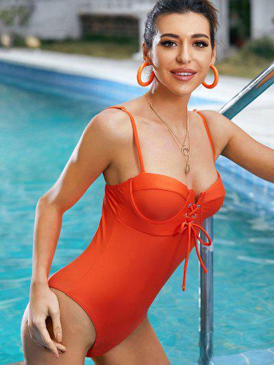 ZAFUL Underwire Lace Up High Cut Grommet Swimsuit - Orange M