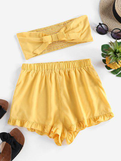 ZAFUL Bowknot Ruffled Smocked Bandeau Two Piece Set - Rubber Ducky Yellow S