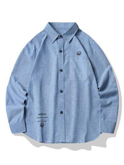 グラフィックプリントボタン付きポケットシャツ - シルクブルー 4xl