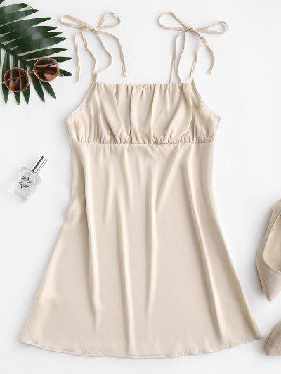 Silky Ruched Front Tie Shoulder Mini Dress - Champagne Gold M