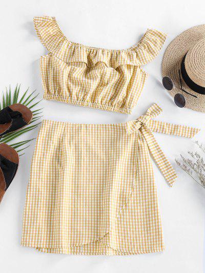 ZAFUL Gingham Ruffle Bowknot Skirt Set - Golden Brown S