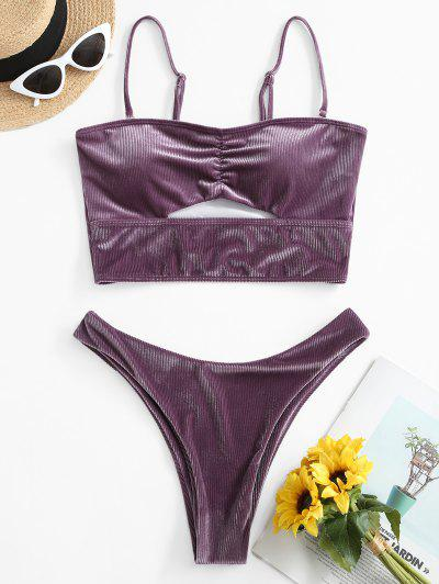 ZAFUL Velvet Ribbed High Cut Tankini Swimwear - Viola Purple 2xl