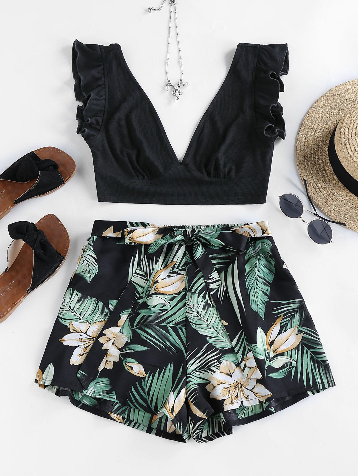 ZAFUL Flower Leaf Ruffle Plunging Bowknot Shorts Set