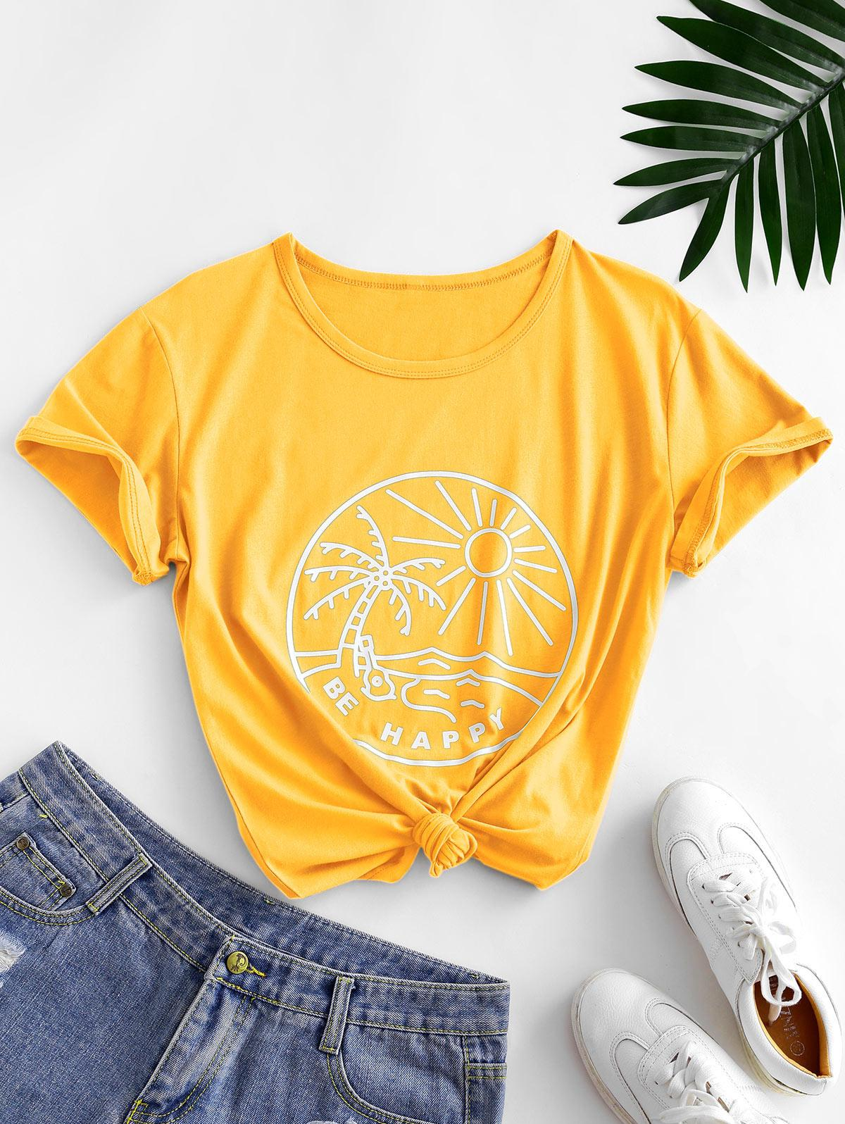Funny Coconut Tree and Sun Graphic Cotton Tee
