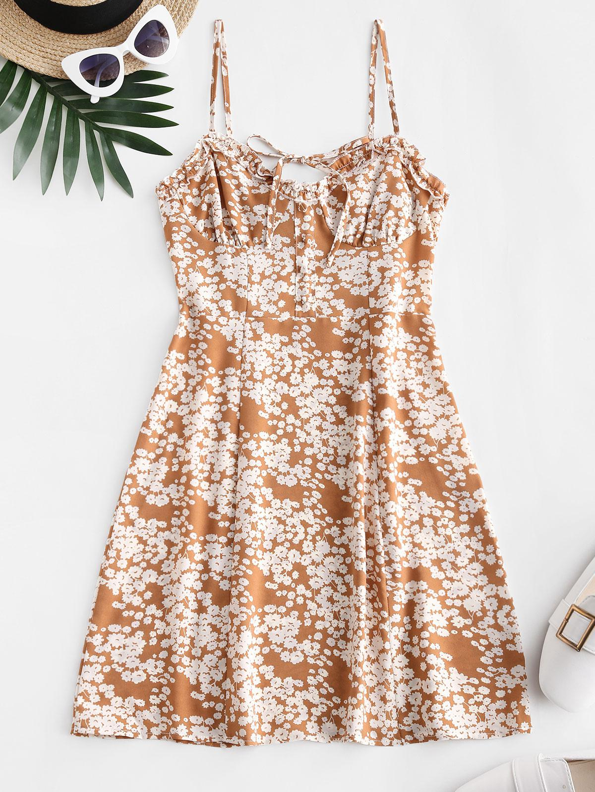 Tie Collar Smocked Back Ditsy Floral Cami Dress thumbnail