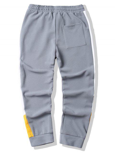 Jogger Pantalones con Bloqueo de Color - Gris Claro XL Mobile