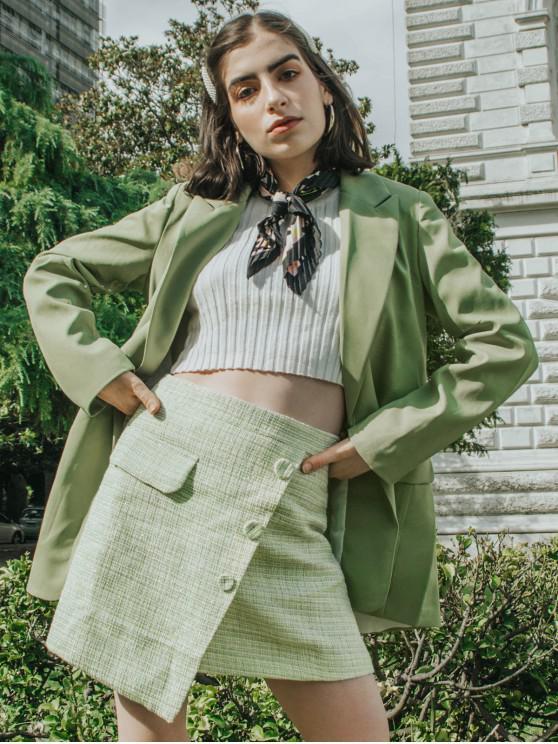 Frente abierto acolchado de hombro del bolsillo de la chaqueta - Verde M