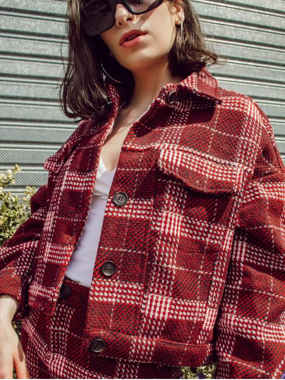 fashion Glen Check Tweed Jacket with Mini Skirt - RED S
