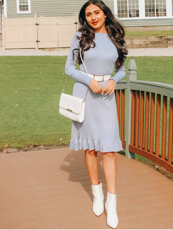 outfit Crew Neck Long Sleeve Ruffled Hem Sweater Dress - BLUE GRAY ONE SIZE