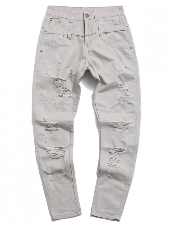 chic Ripped Decorated Casual Zip Fly Pants - LIGHT GRAY 34