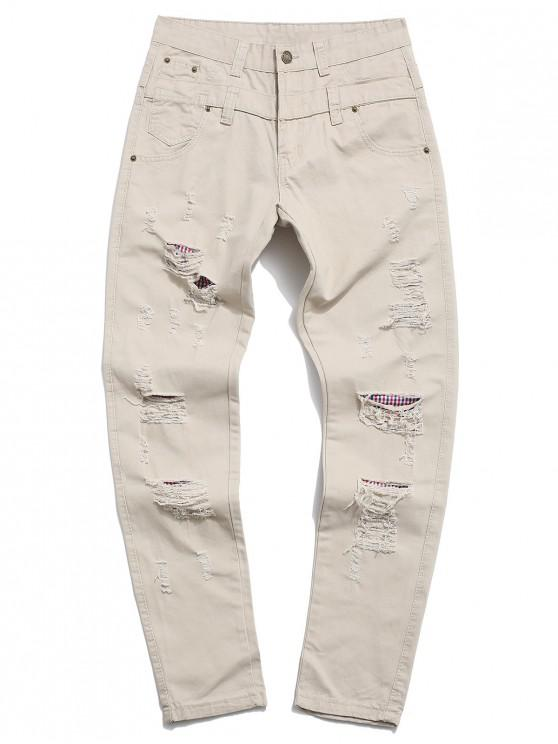 unique Ripped Decorated Casual Zip Fly Pants - LIGHT KHAKI 34