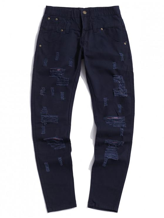 affordable Ripped Decorated Casual Zip Fly Pants - CADETBLUE 34