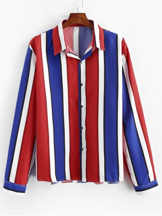 best Vertical Striped Long Sleeve Lounge Shirt - RED XL