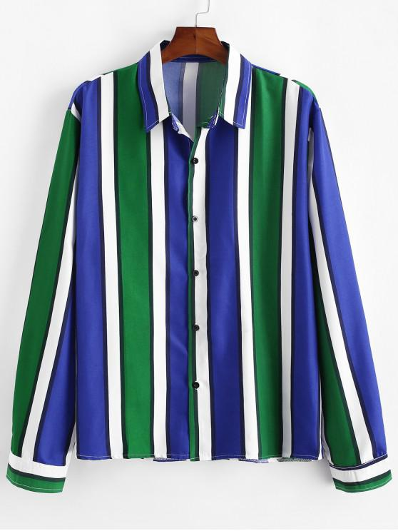affordable Vertical Striped Long Sleeve Lounge Shirt - GREEN XL
