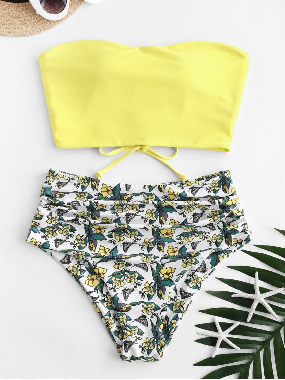 fashion ZAFUL Lace Up Floral Bandeau High Waisted Tankini Swimwear - YELLOW S