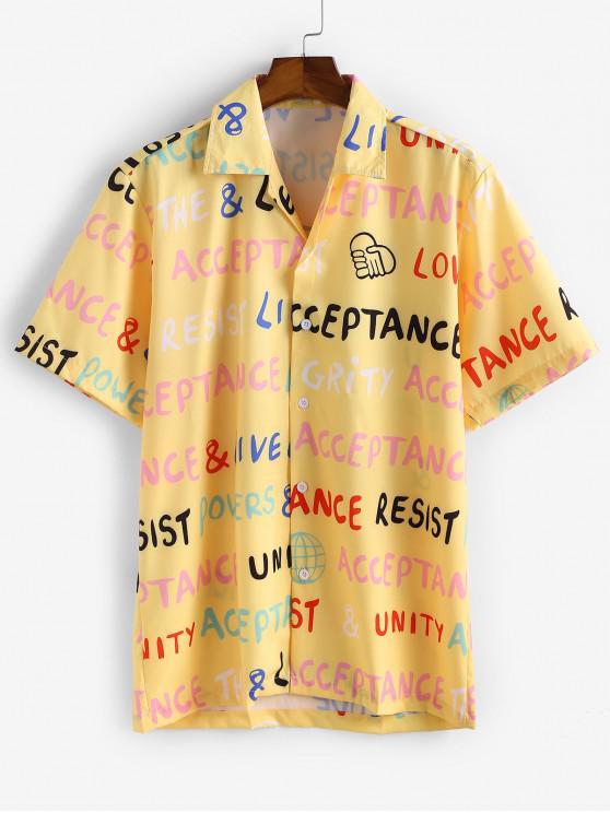 Letter Print Button Casual Shirt - الأصفر S