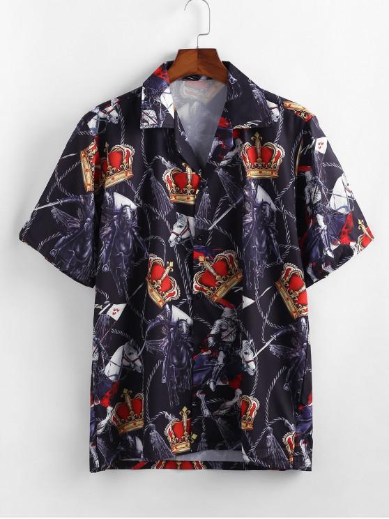Camisa Corona Estampado Caballo Botones - Negro L