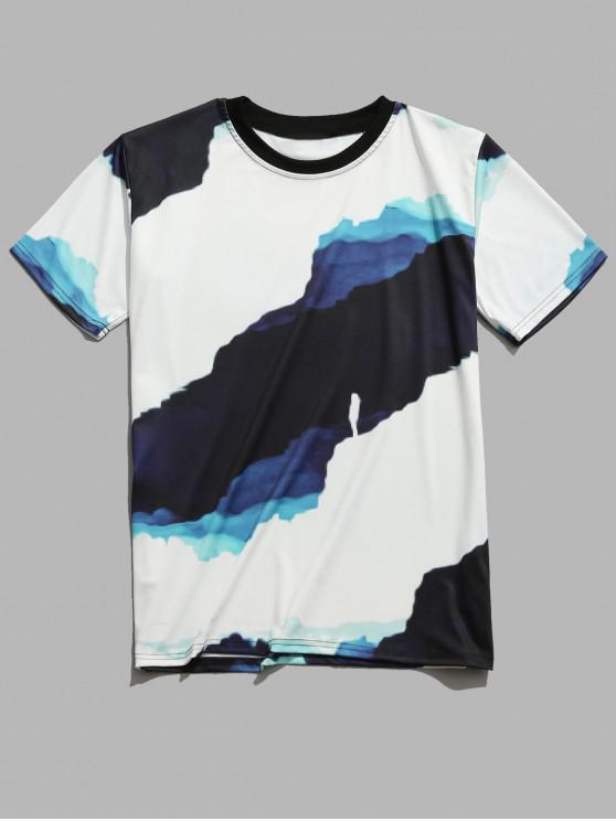 Casual Painting Printed Short Sleeves T-shirt - أبيض 2XL
