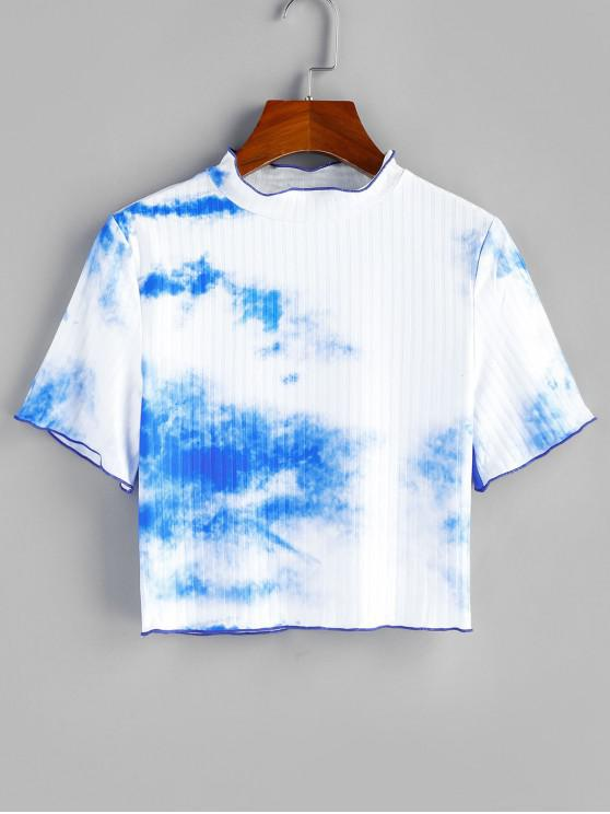 ZAFUL Tie Dye Ribbed Crop Top - alb XL