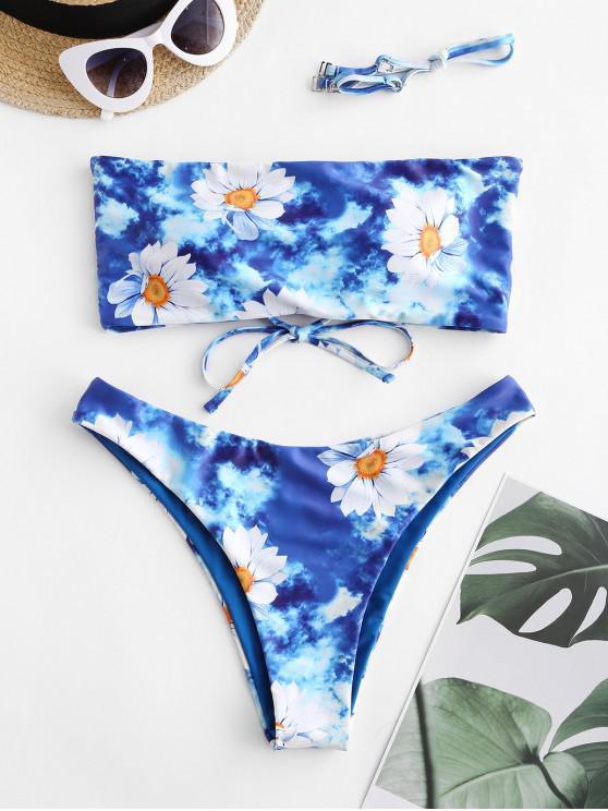 Bikini a Fascia Floreale di Tie-Dye di ZAFUL - Blu Marino  S
