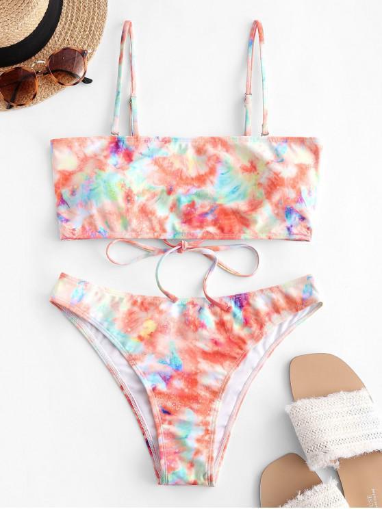 ZAFUL Krawattenfärbender Bandeau Bikini Badebekleidung mit Schnürung - Multi-A S