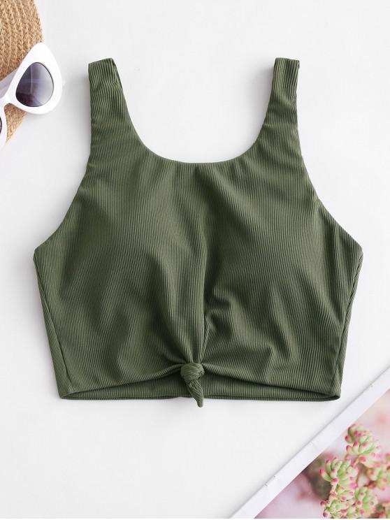 ZAFUL Bikini Top Acanalado con Nudo - Ejercito Verde S