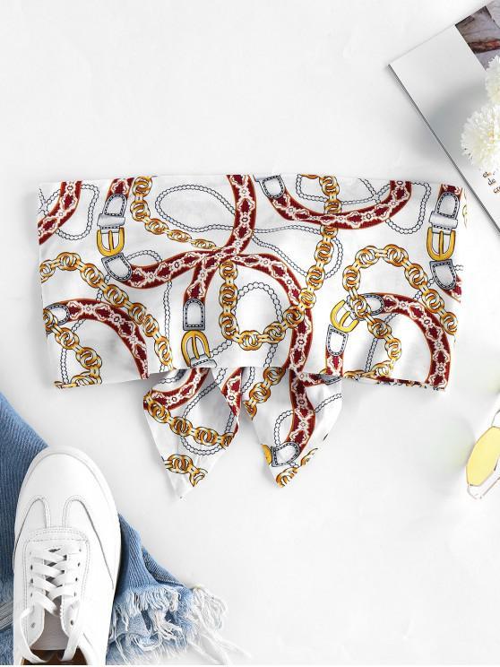 womens ZAFUL Tie Knot Chains Print Tube Top - MILK WHITE S