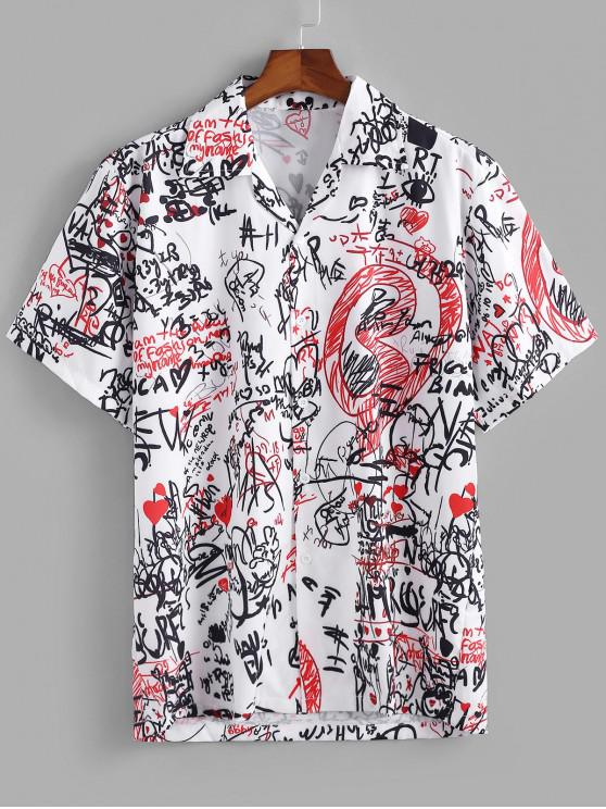 latest Graphic Pattern Short Sleeves Shirt - WHITE 2XL
