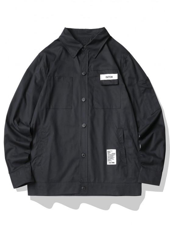 Letter Print Multi Pockets Cargo Shirt - أسود 2XL