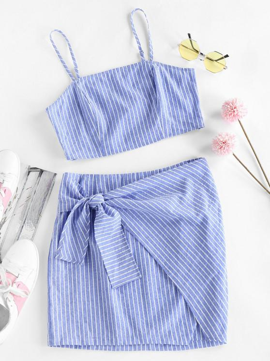 women ZAFUL Striped Tied Mini Bodycon Skirt Set - SKY BLUE S