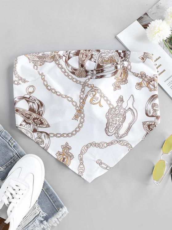 shops ZAFUL 3D Chain Print Strapless Bandana Top - WHITE L