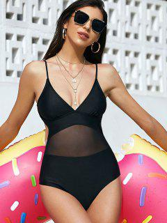 ZAFUL Solid Mesh Panel Tie Back One-piece Swimsuit - Black Xl