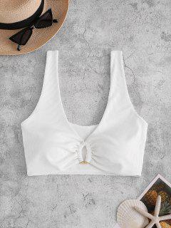 ZAFUL Plunge Ribbed Tank Bikini Top - White M