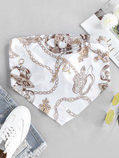 ZAFUL 3D Chain Print Strapless Bandana Top - White S