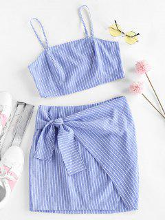 ZAFUL Striped Tied Mini Bodycon Skirt Set - Sky Blue M