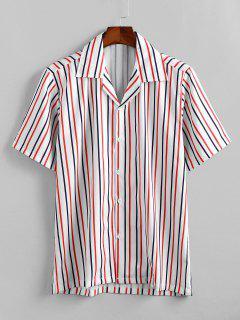 Camicia Casuale Stampata A Righe Con Bottoni - Bianca L